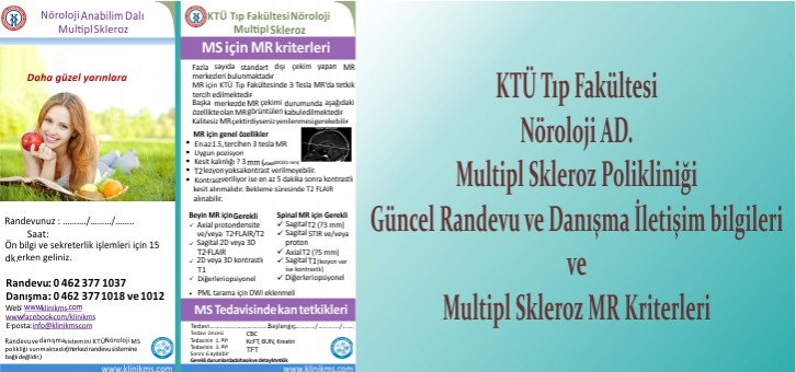 Güncel Randevu ve Danışma İletişim bilgileri ve Multipl Skleroz MR Kriterleri